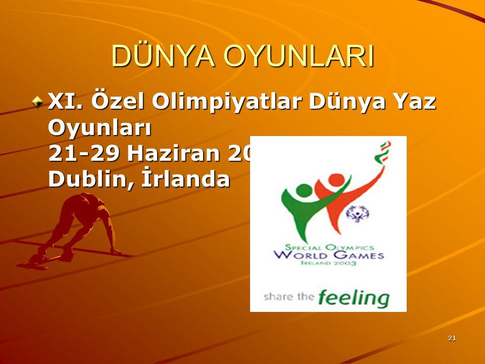 DÜNYA OYUNLARI XI. Özel Olimpiyatlar Dünya Yaz Oyunları 21-29 Haziran 2003 Dublin, İrlanda