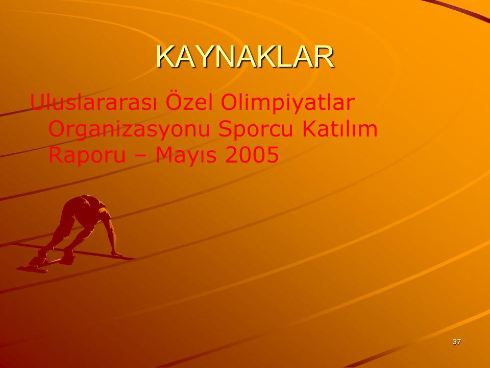 KAYNAKLAR Uluslararası Özel Olimpiyatlar Organizasyonu Sporcu Katılım Raporu – Mayıs 2005