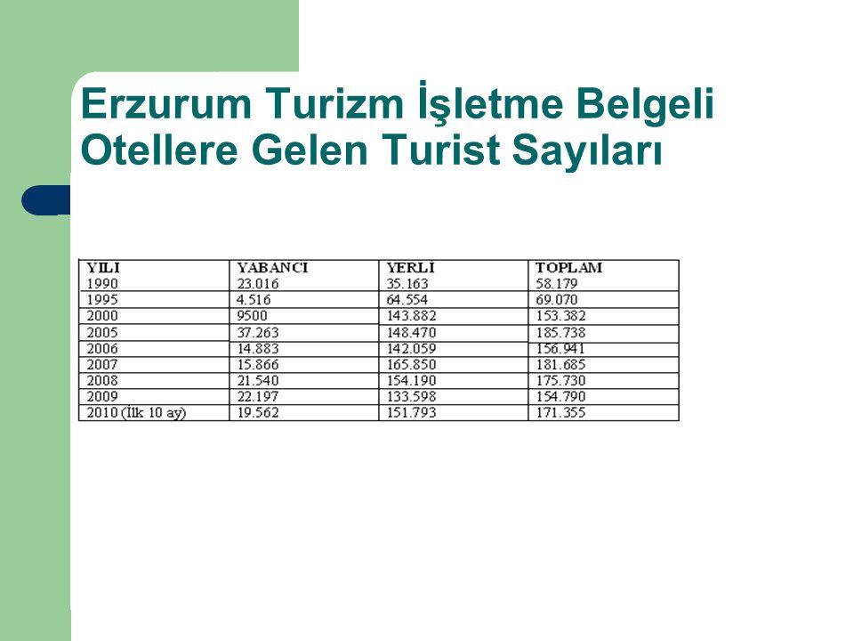 Erzurum Turizm İşletme Belgeli Otellere Gelen Turist Sayıları