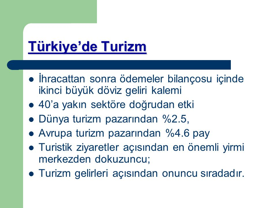 Türkiye'de Turizm İhracattan sonra ödemeler bilançosu içinde ikinci büyük döviz geliri kalemi. 40'a yakın sektöre doğrudan etki.