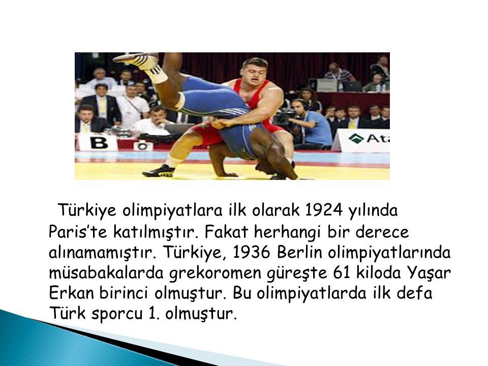 Türkiye olimpiyatlara ilk olarak 1924 yılında Paris'te katılmıştır