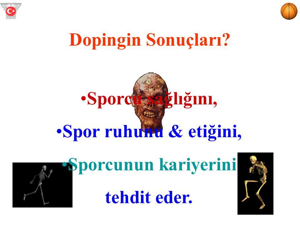 Dopingin Sonuçları Sporcu sağlığını, Spor ruhunu & etiğini, Sporcunun kariyerini tehdit eder.