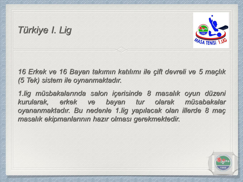 Türkiye I. Lig 16 Erkek ve 16 Bayan takımın katılımı ile çift devreli ve 5 maçlık (5 Tek) sistem ile oynanmaktadır.