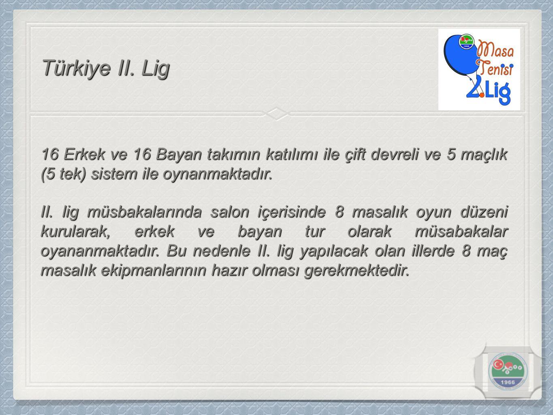 Türkiye II. Lig 16 Erkek ve 16 Bayan takımın katılımı ile çift devreli ve 5 maçlık (5 tek) sistem ile oynanmaktadır.