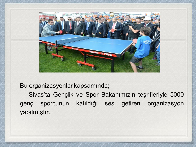 Bu organizasyonlar kapsamında; Sivas'ta Gençlik ve Spor Bakanımızın teşrifleriyle 5000 genç sporcunun katıldığı ses getiren organizasyon yapılmıştır.