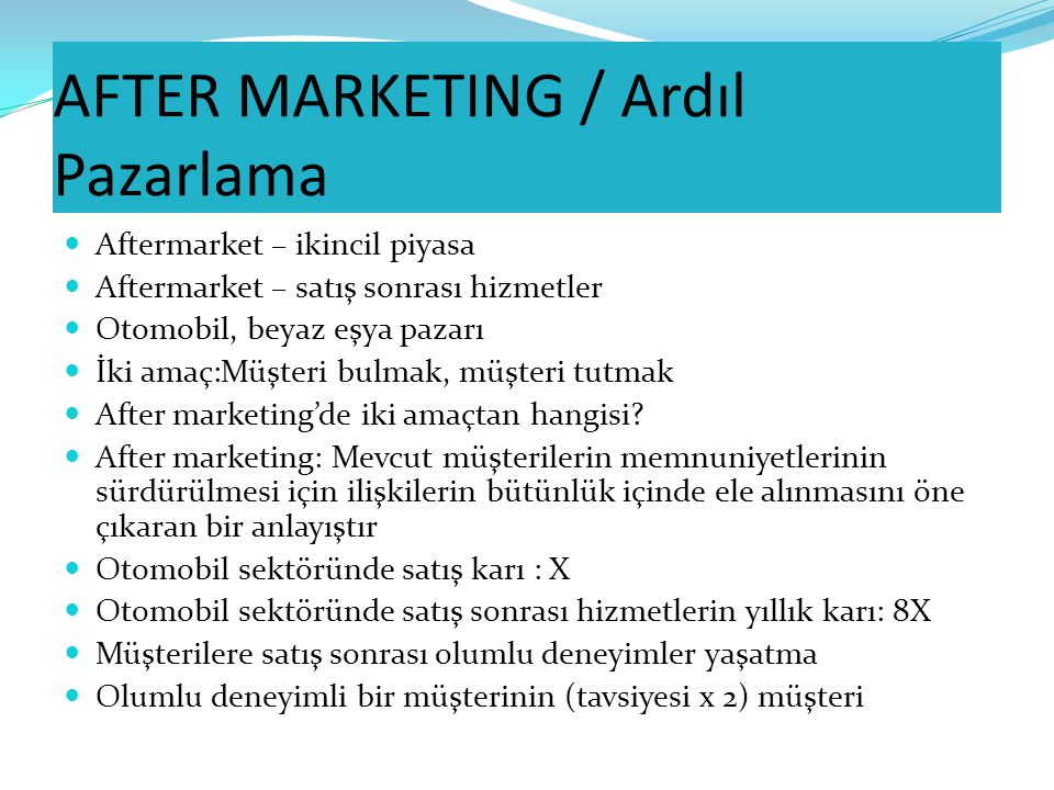AFTER MARKETING / Ardıl Pazarlama
