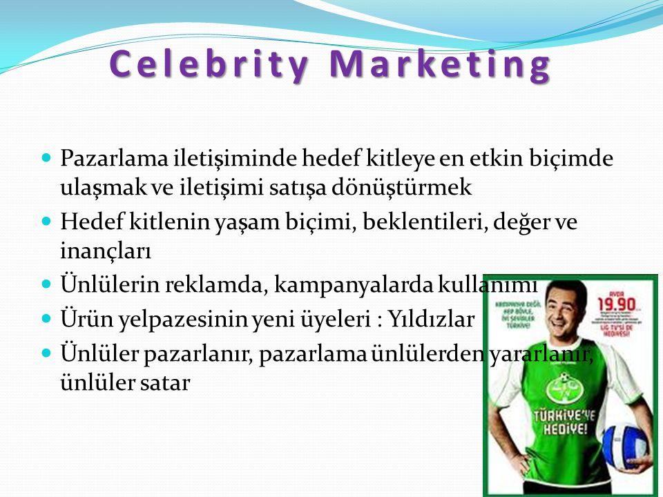 Celebrity Marketing Pazarlama iletişiminde hedef kitleye en etkin biçimde ulaşmak ve iletişimi satışa dönüştürmek.