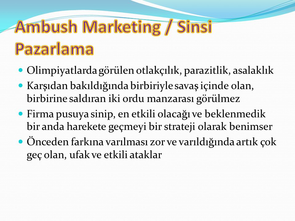 Ambush Marketing / Sinsi Pazarlama