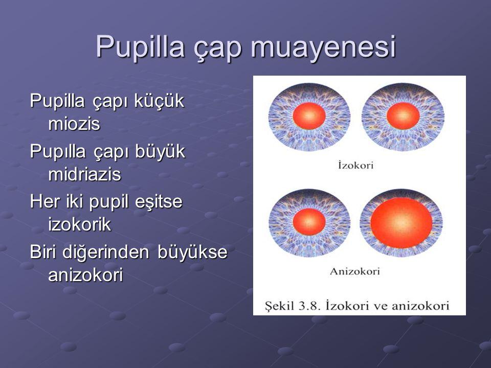 Pupilla çap muayenesi Pupilla çapı küçük miozis