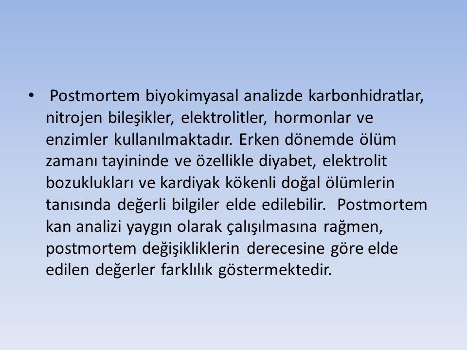 Postmortem biyokimyasal analizde karbonhidratlar, nitrojen bileşikler, elektrolitler, hormonlar ve enzimler kullanılmaktadır.