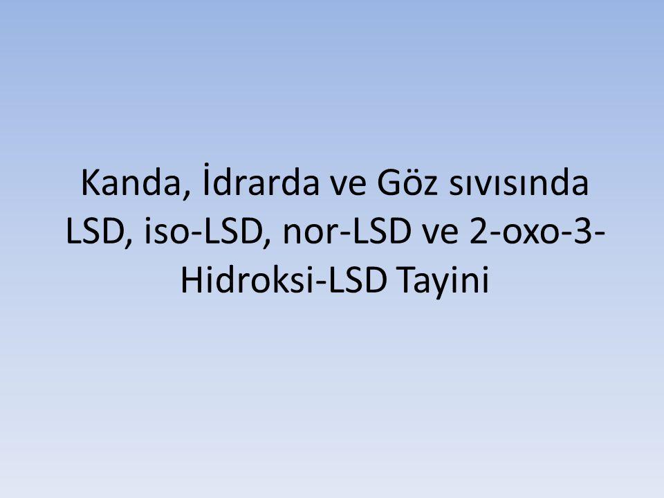 Kanda, İdrarda ve Göz sıvısında LSD, iso-LSD, nor-LSD ve 2-oxo-3-Hidroksi-LSD Tayini