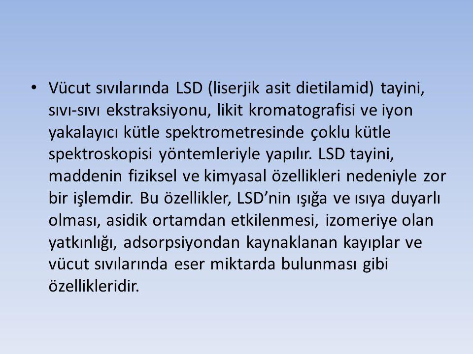 Vücut sıvılarında LSD (liserjik asit dietilamid) tayini, sıvı-sıvı ekstraksiyonu, likit kromatografisi ve iyon yakalayıcı kütle spektrometresinde çoklu kütle spektroskopisi yöntemleriyle yapılır.