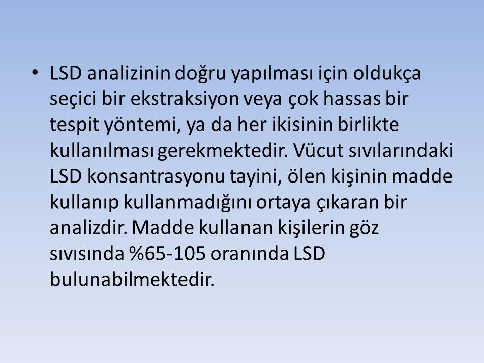 LSD analizinin doğru yapılması için oldukça seçici bir ekstraksiyon veya çok hassas bir tespit yöntemi, ya da her ikisinin birlikte kullanılması gerekmektedir.