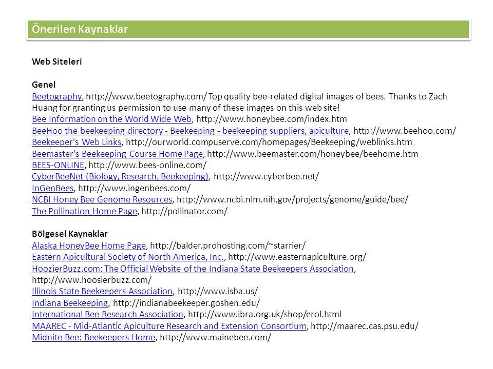 Önerilen Kaynaklar Web Siteleri Genel