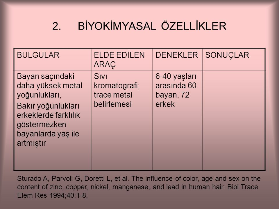BİYOKİMYASAL ÖZELLİKLER