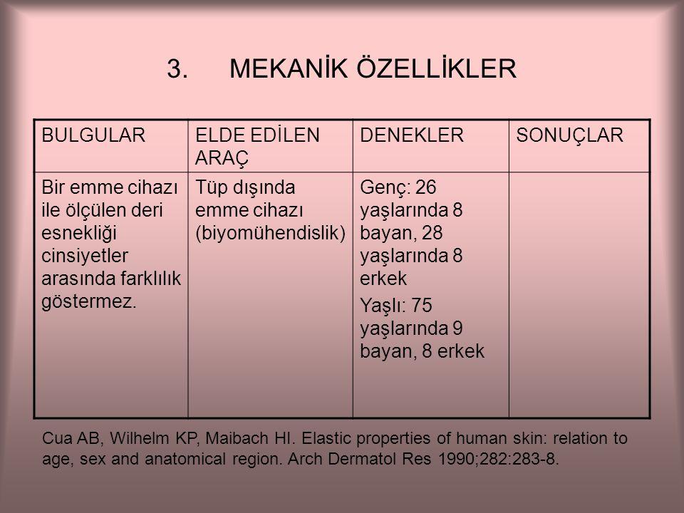 MEKANİK ÖZELLİKLER BULGULAR ELDE EDİLEN ARAÇ DENEKLER SONUÇLAR