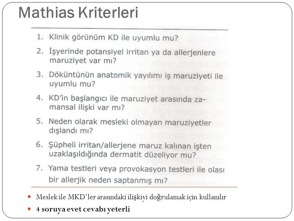 Mathias Kriterleri Meslek ile MKD'ler arasındaki ilişkiyi doğrulamak için kullanılır.