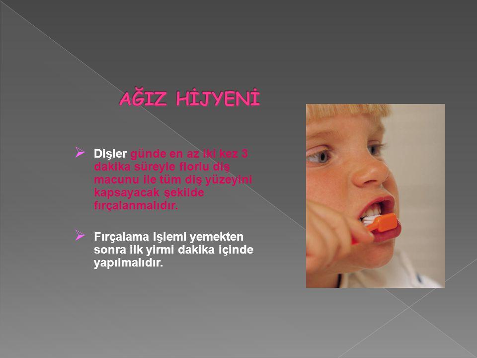 AĞIZ HİJYENİ Dişler günde en az iki kez 3 dakika süreyle florlu diş macunu ile tüm diş yüzeyini kapsayacak şekilde fırçalanmalıdır.
