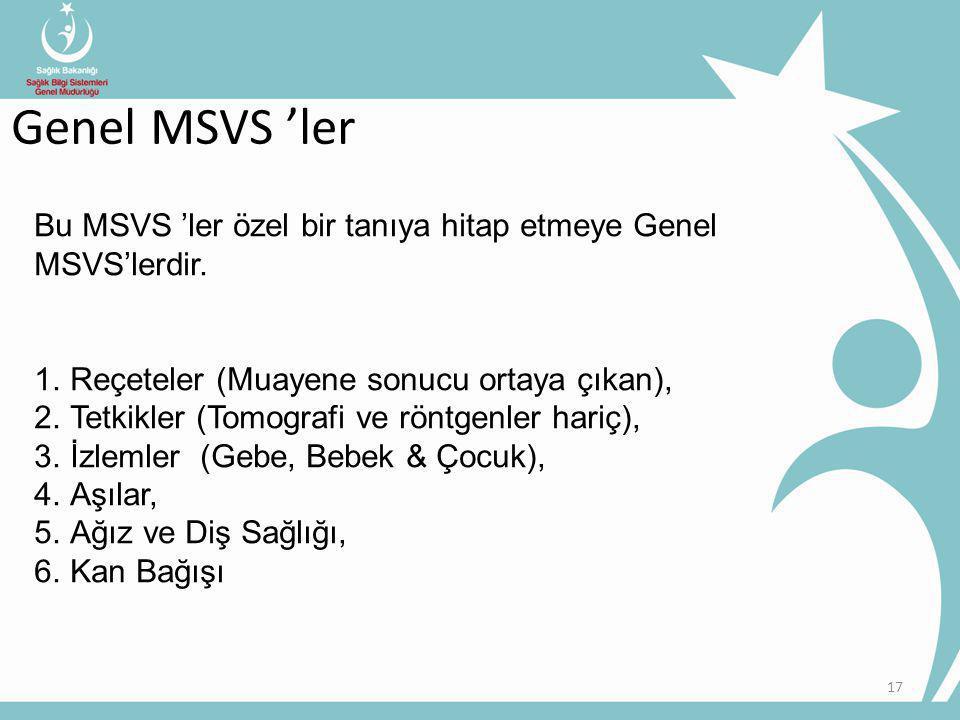 Genel MSVS 'ler Bu MSVS 'ler özel bir tanıya hitap etmeye Genel MSVS'lerdir. Reçeteler (Muayene sonucu ortaya çıkan),