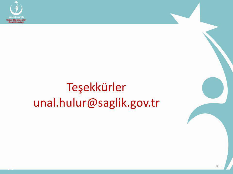Teşekkürler unal.hulur@saglik.gov.tr 26