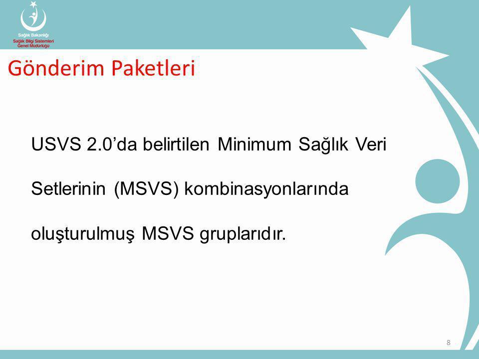 Gönderim Paketleri USVS 2.0'da belirtilen Minimum Sağlık Veri Setlerinin (MSVS) kombinasyonlarında oluşturulmuş MSVS gruplarıdır.