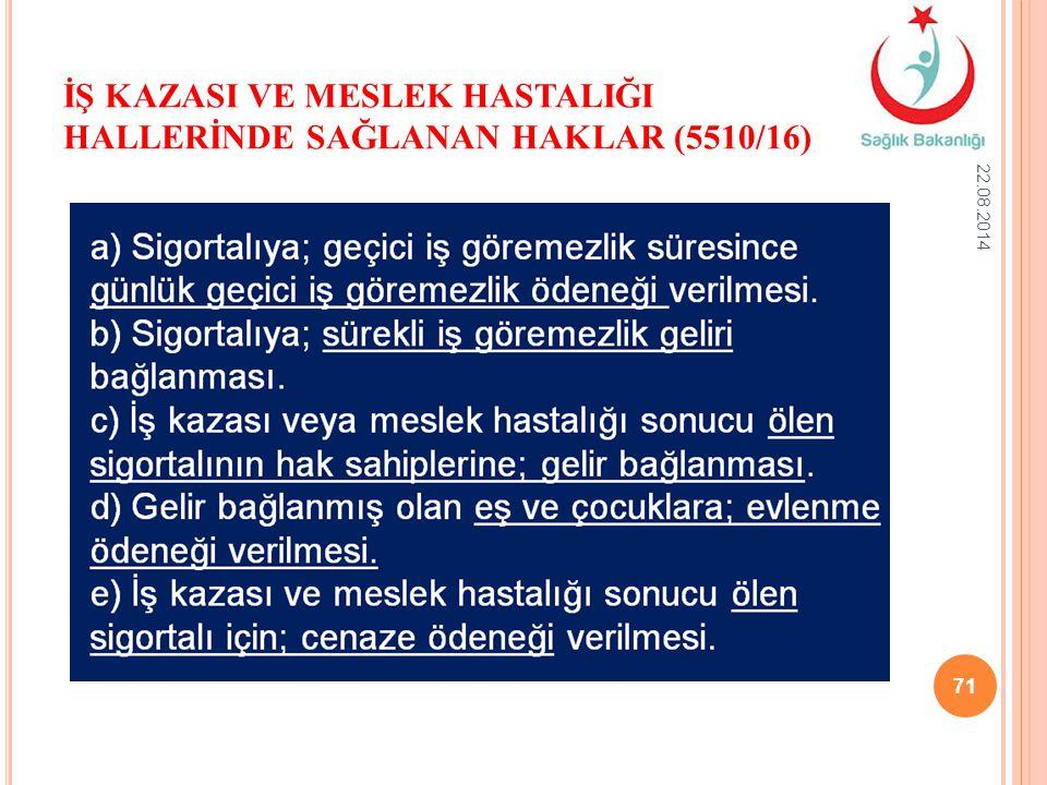 İŞ KAZASI VE MESLEK HASTALIĞI HALLERİNDE SAĞLANAN HAKLAR (5510/16)