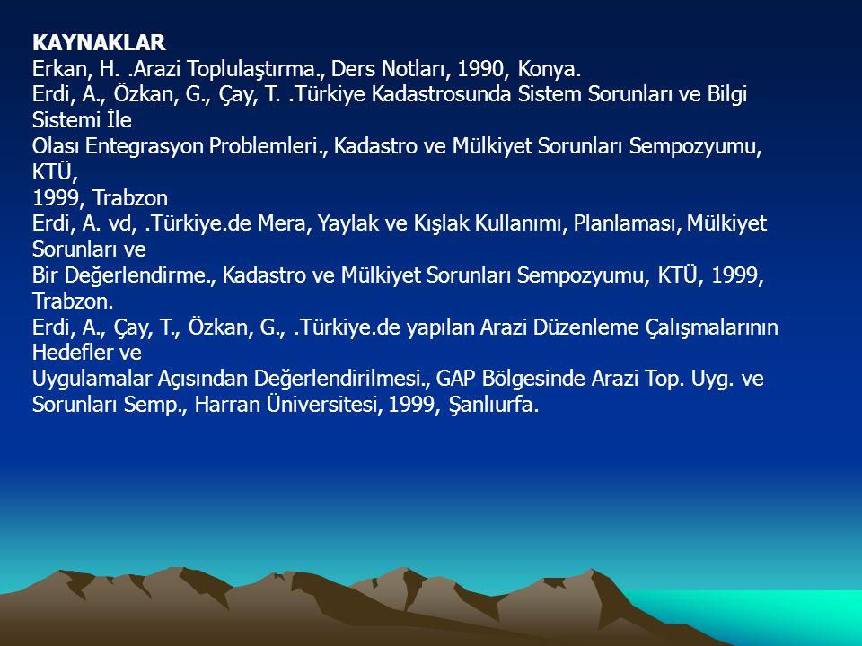 KAYNAKLAR Erkan, H. .Arazi Toplulaştırma., Ders Notları, 1990, Konya.