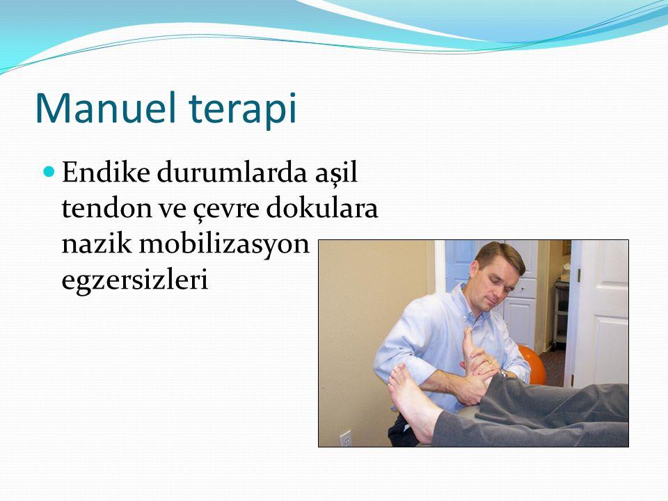 Manuel terapi Endike durumlarda aşil tendon ve çevre dokulara nazik mobilizasyon egzersizleri