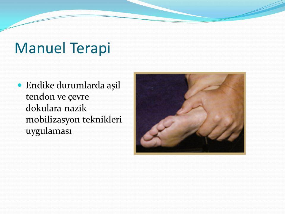 Manuel Terapi Endike durumlarda aşil tendon ve çevre dokulara nazik mobilizasyon teknikleri uygulaması.