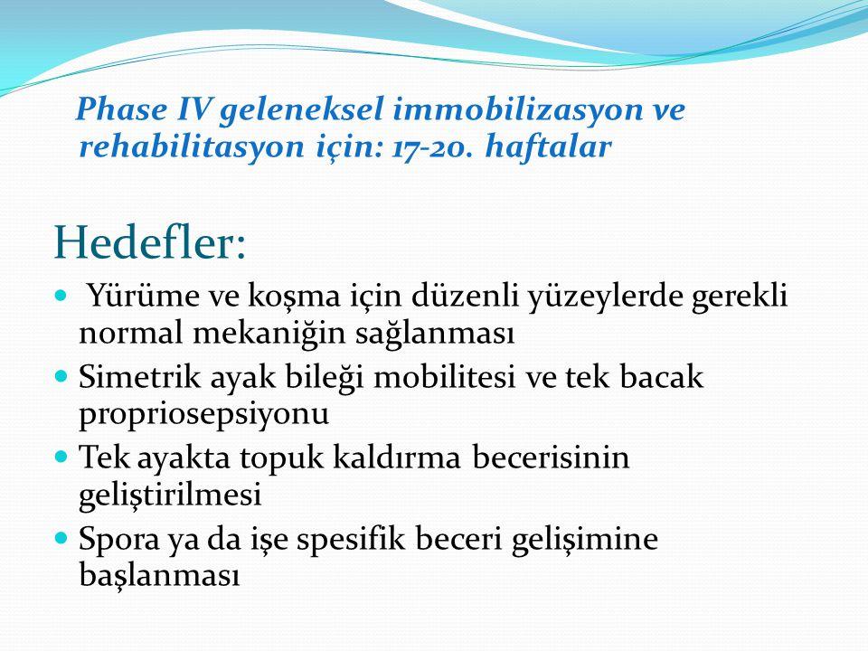 Phase IV geleneksel immobilizasyon ve rehabilitasyon için: 17-20