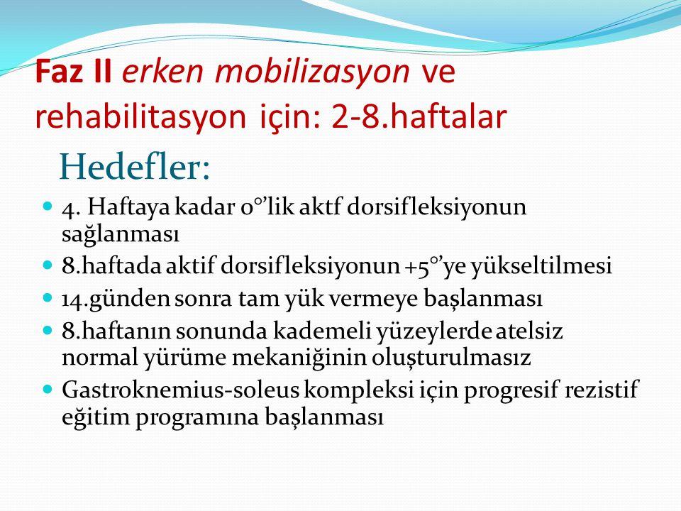 Faz II erken mobilizasyon ve rehabilitasyon için: 2-8.haftalar