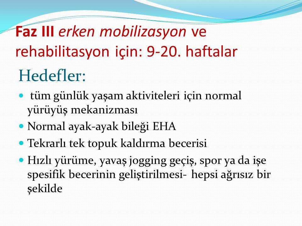 Faz III erken mobilizasyon ve rehabilitasyon için: 9-20. haftalar