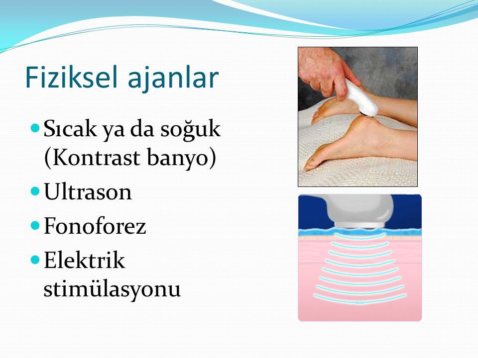 Fiziksel ajanlar Sıcak ya da soğuk (Kontrast banyo) Ultrason Fonoforez