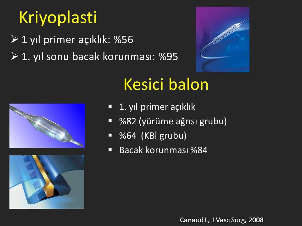 Kriyoplasti Kesici balon 1 yıl primer açıklık: %56