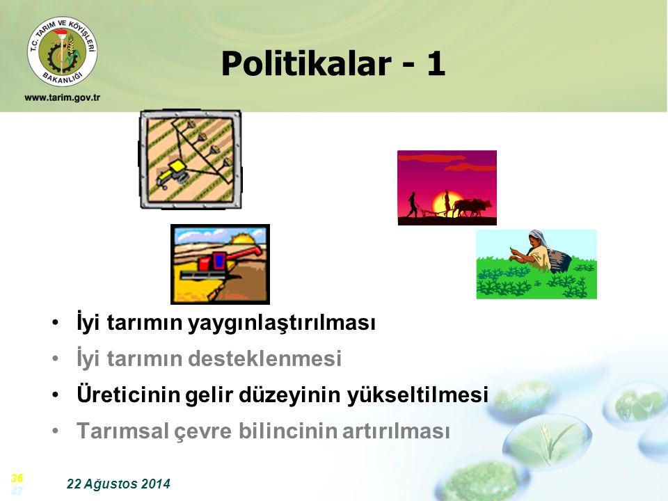 Politikalar - 1 İyi tarımın yaygınlaştırılması