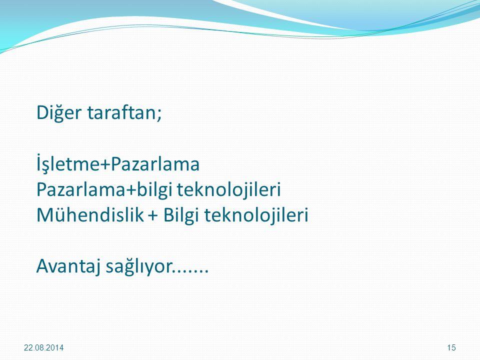 Diğer taraftan; İşletme+Pazarlama Pazarlama+bilgi teknolojileri Mühendislik + Bilgi teknolojileri Avantaj sağlıyor.......