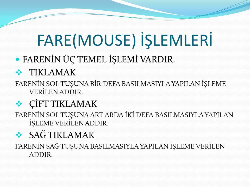 FARE(MOUSE) İŞLEMLERİ