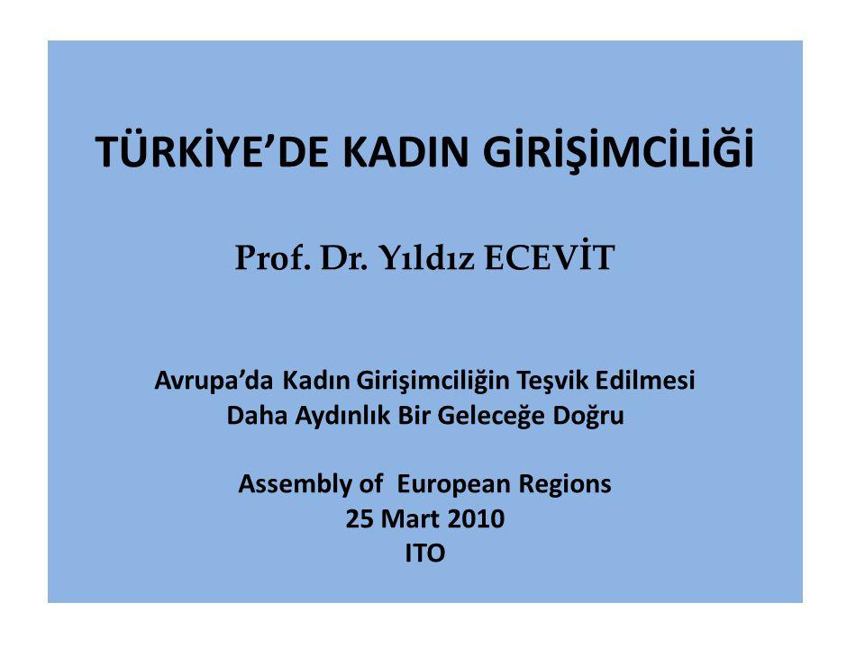 TÜRKİYE'DE KADIN GİRİŞİMCİLİĞİ Prof. Dr