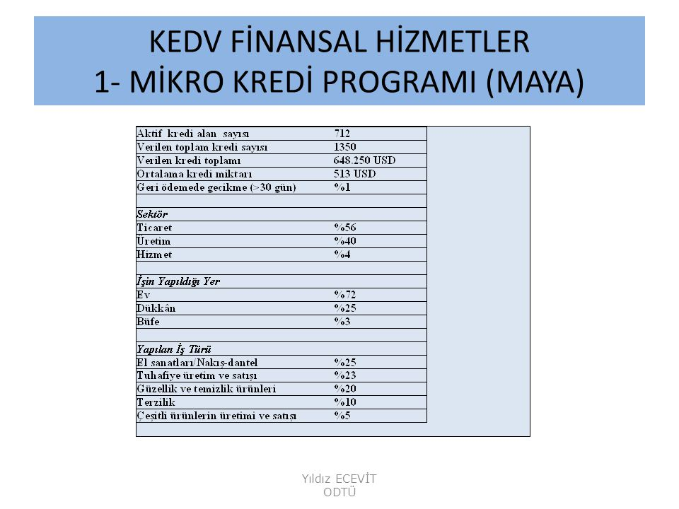 KEDV FİNANSAL HİZMETLER 1- MİKRO KREDİ PROGRAMI (MAYA)