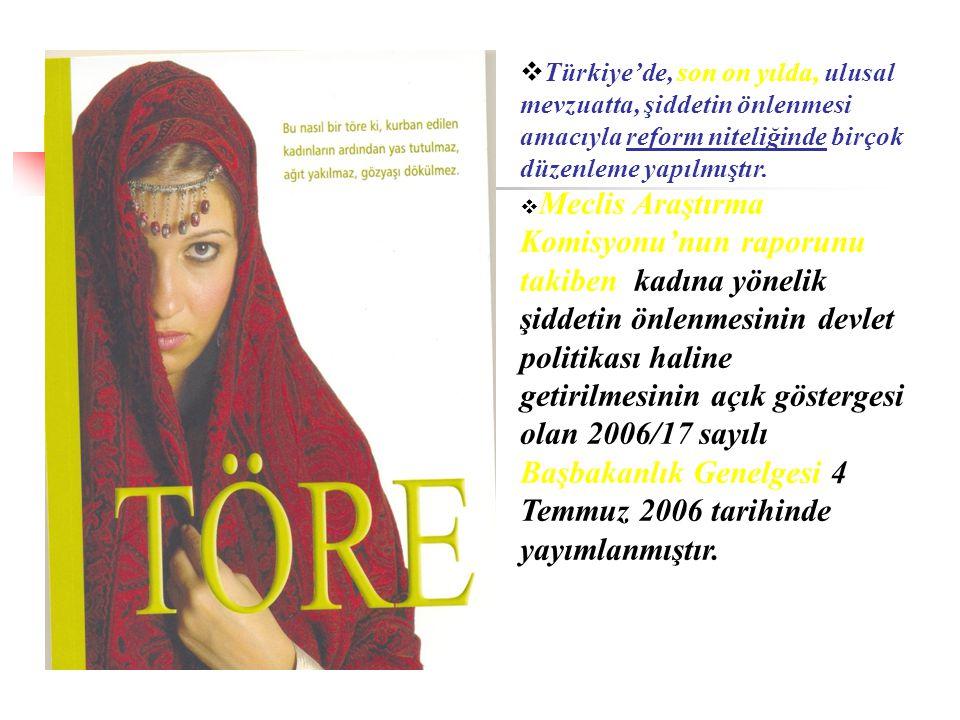 Türkiye'de, son on yılda, ulusal mevzuatta, şiddetin önlenmesi amacıyla reform niteliğinde birçok düzenleme yapılmıştır.