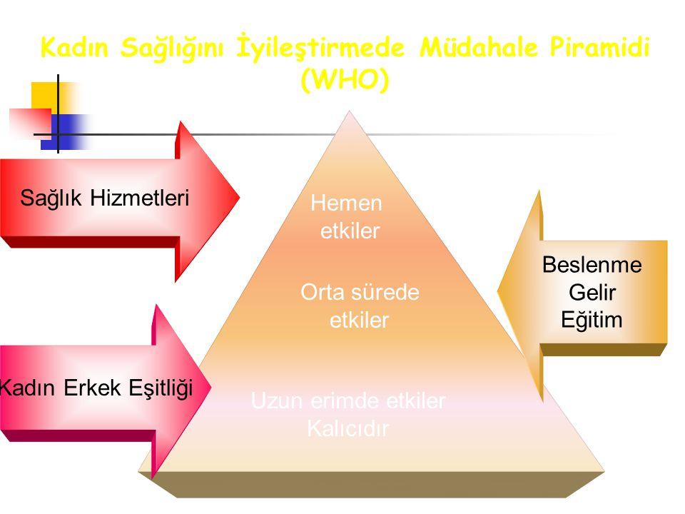 Kadın Sağlığını İyileştirmede Müdahale Piramidi (WHO)