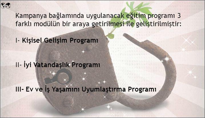 Kampanya bağlamında uygulanacak eğitim programı 3 farklı modülün bir araya getirilmesi ile geliştirilmiştir: