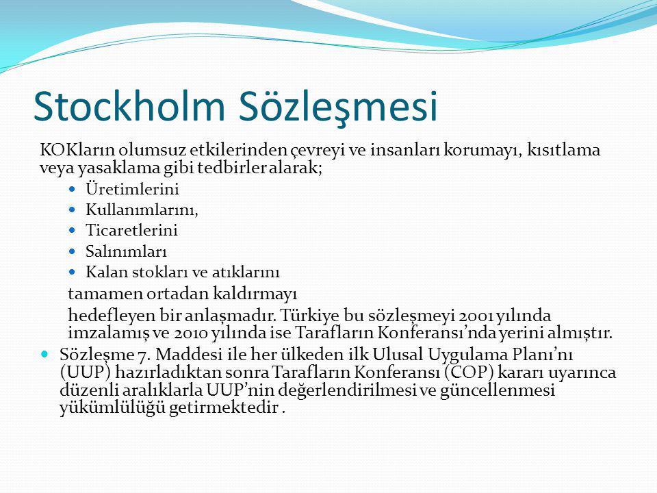 Stockholm Sözleşmesi KOKların olumsuz etkilerinden çevreyi ve insanları korumayı, kısıtlama veya yasaklama gibi tedbirler alarak;
