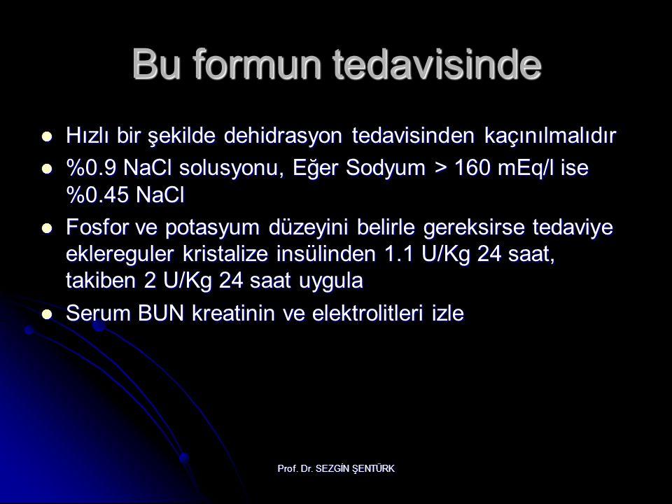 Bu formun tedavisinde Hızlı bir şekilde dehidrasyon tedavisinden kaçınılmalıdır. %0.9 NaCl solusyonu, Eğer Sodyum > 160 mEq/l ise %0.45 NaCl.