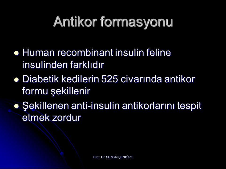 Antikor formasyonu Human recombinant insulin feline insulinden farklıdır. Diabetik kedilerin 525 civarında antikor formu şekillenir.