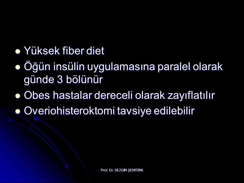 Öğün insülin uygulamasına paralel olarak günde 3 bölünür