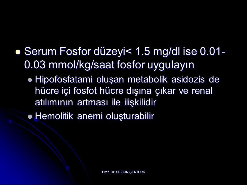 Serum Fosfor düzeyi< 1. 5 mg/dl ise 0. 01-0