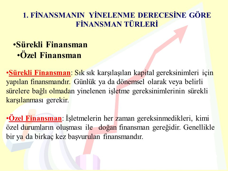 1. FİNANSMANIN YİNELENME DERECESİNE GÖRE FİNANSMAN TÜRLERİ