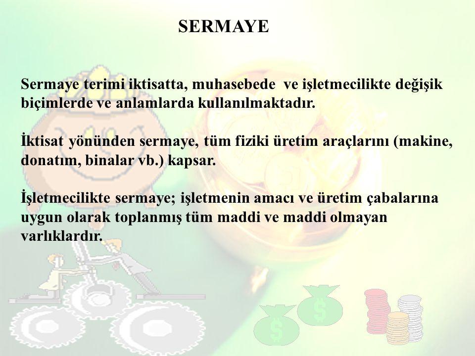 SERMAYE Sermaye terimi iktisatta, muhasebede ve işletmecilikte değişik biçimlerde ve anlamlarda kullanılmaktadır.