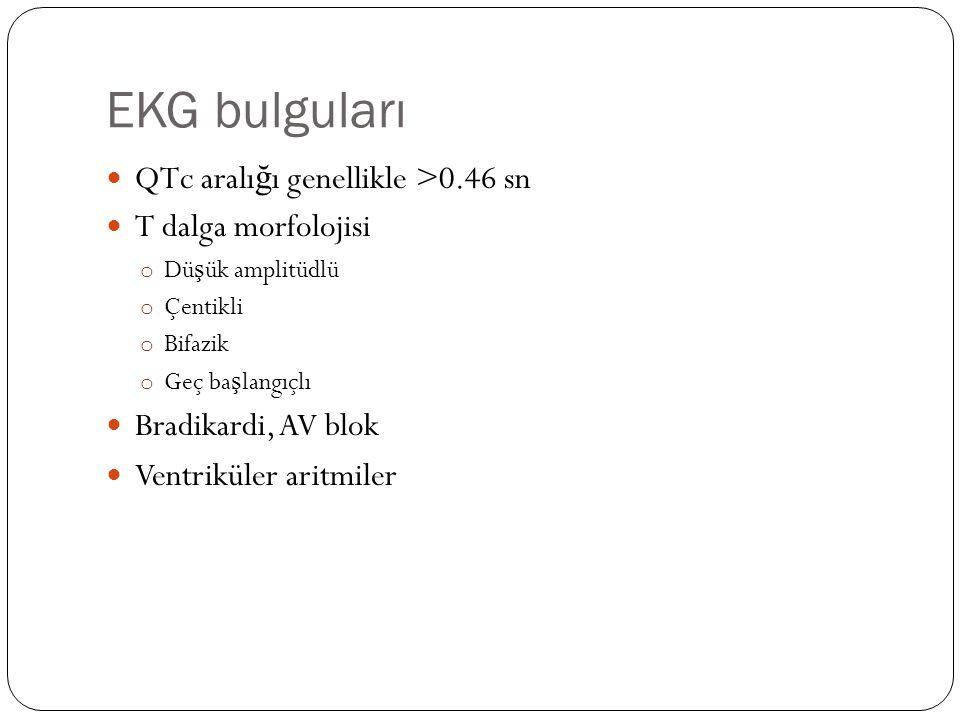 EKG bulguları QTc aralığı genellikle >0.46 sn T dalga morfolojisi